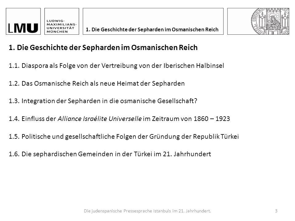 Die judenspanische Pressesprache Istanbuls im 21. Jahrhundert.2 Gliederung 1.Die Geschichte der Sepharden im Osmanischen Reich 2.Wie wird die Sprache