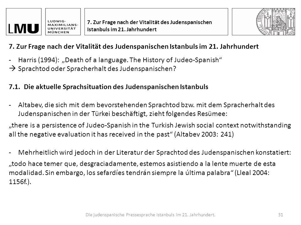 Die judenspanische Pressesprache Istanbuls im 21.