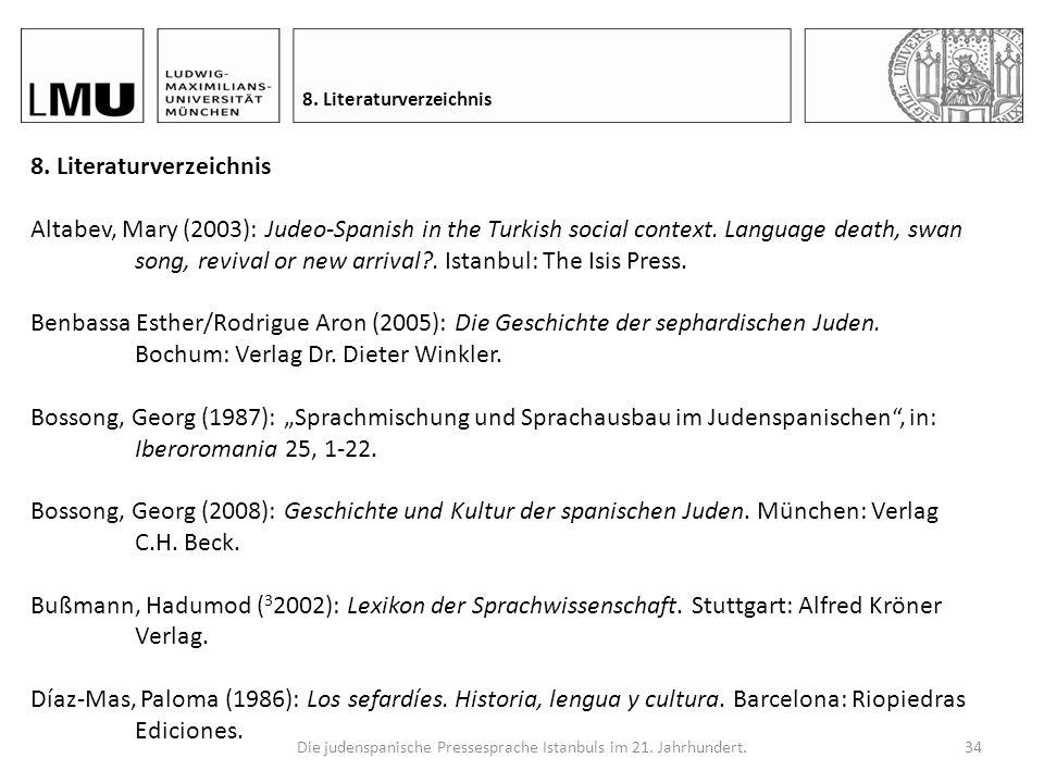 Die judenspanische Pressesprache Istanbuls im 21.Jahrhundert.33 7.