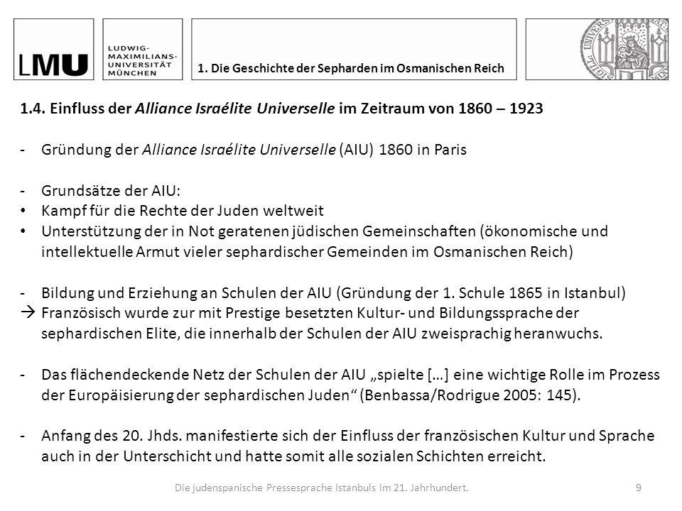 Die judenspanische Pressesprache Istanbuls im 21. Jahrhundert.8 1. Die Geschichte der Sepharden im Osmanischen Reich Drei Phasen nach Díaz-Mas (1986: