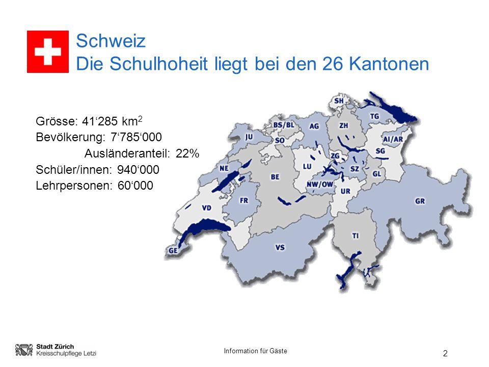 Information für Gäste 2 Schweiz Die Schulhoheit liegt bei den 26 Kantonen Grösse: 41285 km 2 Bevölkerung: 7785000 Ausländeranteil: 22% Schüler/innen: 940000 Lehrpersonen: 60000