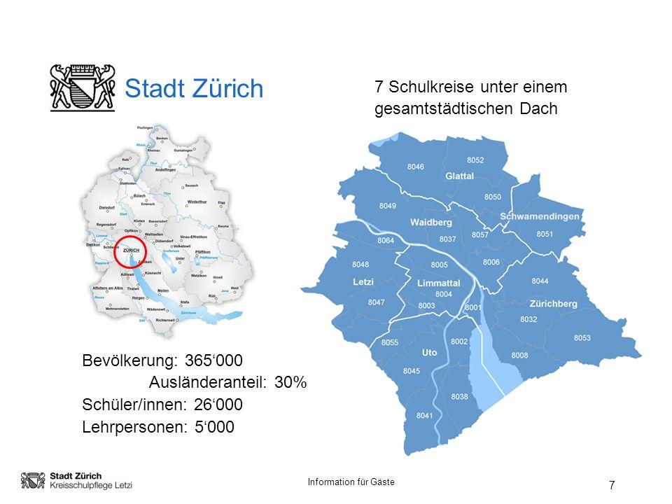 Information für Gäste 7 Stadt Zürich Bevölkerung: 365000 Ausländeranteil: 30% Schüler/innen: 26000 Lehrpersonen: 5000 7 Schulkreise unter einem gesamtstädtischen Dach