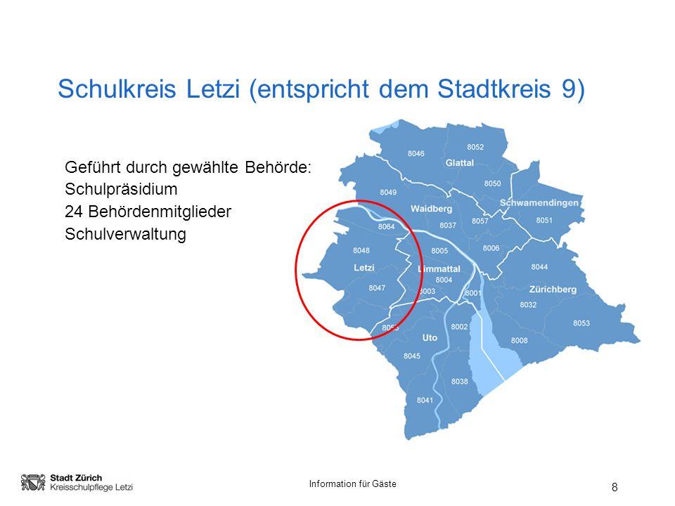 Information für Gäste Schulkreis Letzi (entspricht dem Stadtkreis 9) 8 Geführt durch gewählte Behörde: Schulpräsidium 24 Behördenmitglieder Schulverwaltung