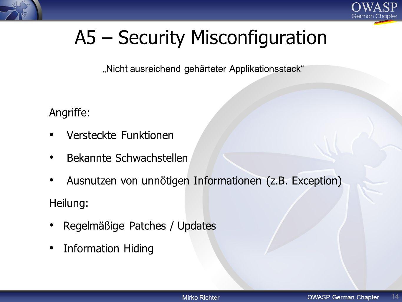 Mirko Richter OWASP German Chapter A5 – Security Misconfiguration 14 Angriffe: Versteckte Funktionen Bekannte Schwachstellen Ausnutzen von unnötigen Informationen (z.B.