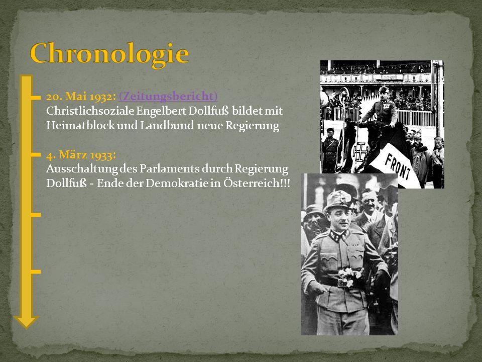 20. Mai 1932: (Zeitungsbericht) Christlichsoziale Engelbert Dollfuß bildet mit Heimatblock und Landbund neue Regierung(Zeitungsbericht) 4. März 1933: