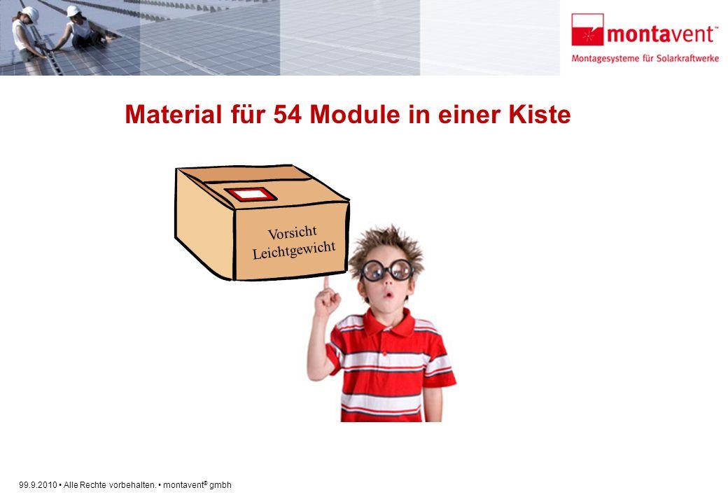 99.9.2010 Alle Rechte vorbehalten. montavent ® gmbh Material für 54 Module in einer Kiste Vorsicht Leichtgewicht