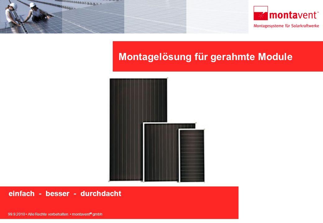 99.9.2010 Alle Rechte vorbehalten. montavent ® gmbh Montagelösung für gerahmte Module einfach - besser - durchdacht 99.9.2010 Alle Rechte vorbehalten.