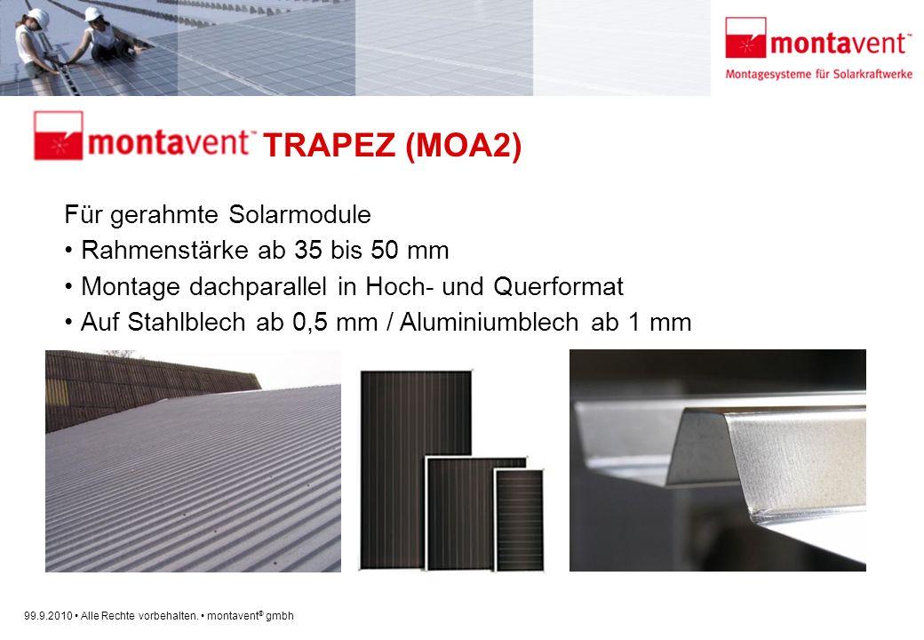 99.9.2010 Alle Rechte vorbehalten. montavent ® gmbh montavent TRAPEZ (MOA2) Für gerahmte Solarmodule Rahmenstärke ab 35 bis 50 mm Montage dachparallel