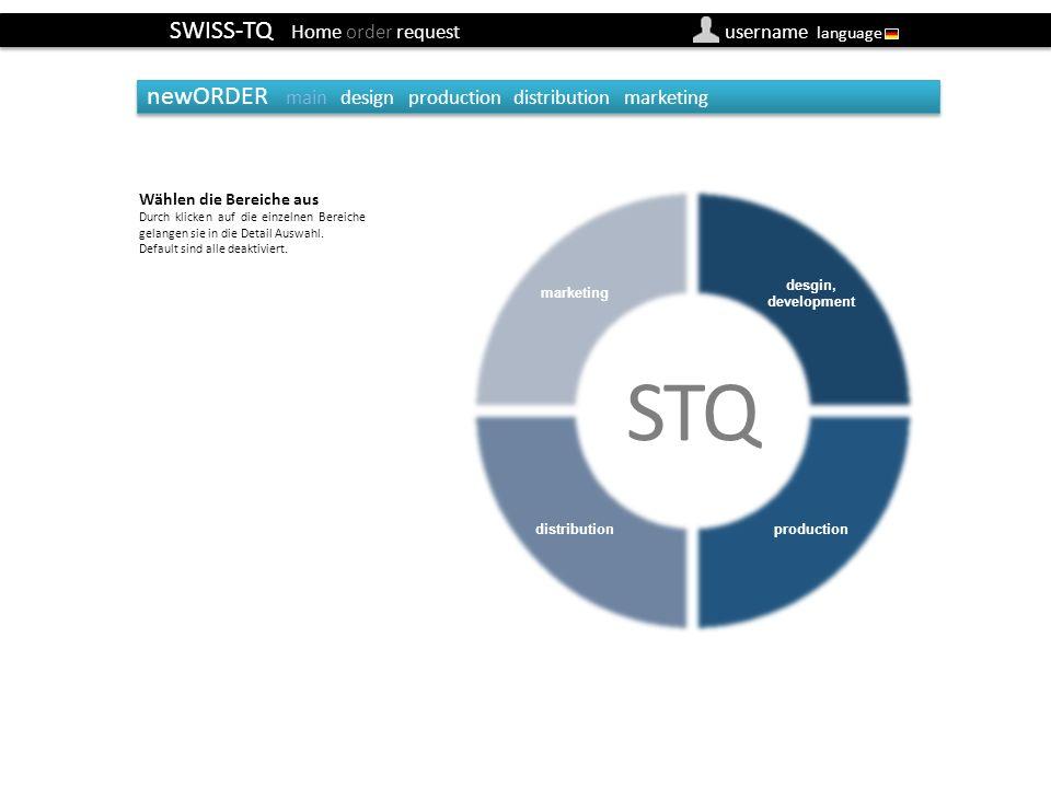 SWISS-TQ Home order request username language newORDER main design production distribution marketing newOrder main (default) (Besteller) Wählen die Bereiche aus Durch klicken auf die einzelnen Bereiche gelangen sie in die Detail Auswahl.