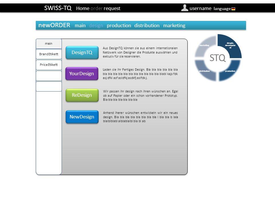 SWISS-TQ Home order request username language newOrder design/main (Besteller) DesignTQ YourDesign Aus DesignTQ können sie aus einem internationalen Netzwerk von Designer die Produkte auswählen und exklusiv für sie reservieren.