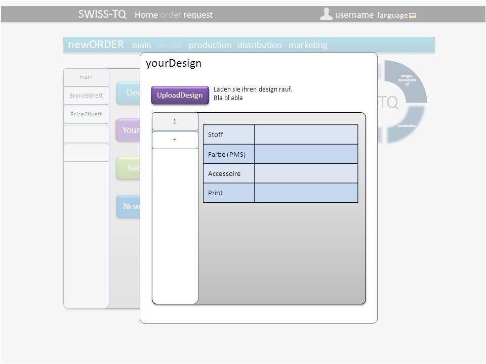SWISS-TQ Home order request username language newOrder design/main/yourDesign (Besteller) DesignTQ YourDesign Aus DesignTQ können sie aus einem internationalen Netzwerk von Designer die Produkte auswählen und exklusiv für sie reservieren.