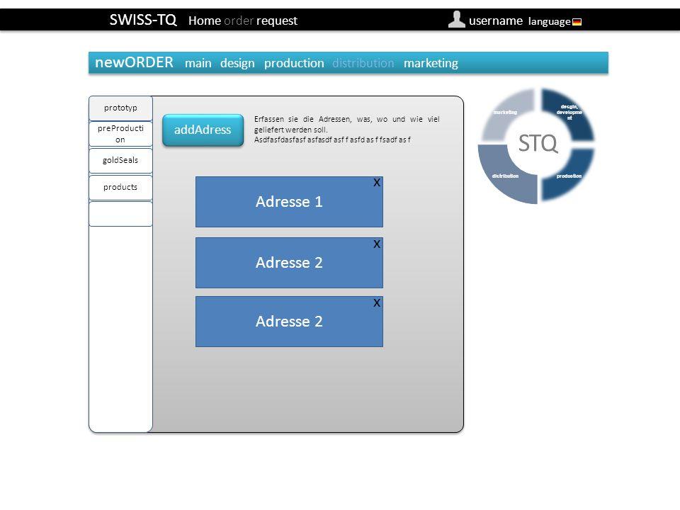 SWISS-TQ Home order request username language newOrder distribution (Besteller) Default adresse von firma/user definierbar newORDER main design production distribution marketing addAdress Erfassen sie die Adressen, was, wo und wie viel geliefert werden soll.