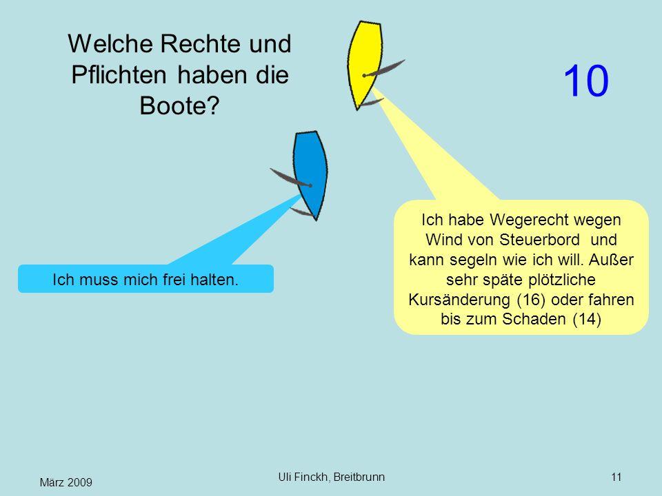 März 2009 Uli Finckh, Breitbrunn11 Welche Rechte und Pflichten haben die Boote? Ich habe Wegerecht wegen Wind von Steuerbord und kann segeln wie ich w