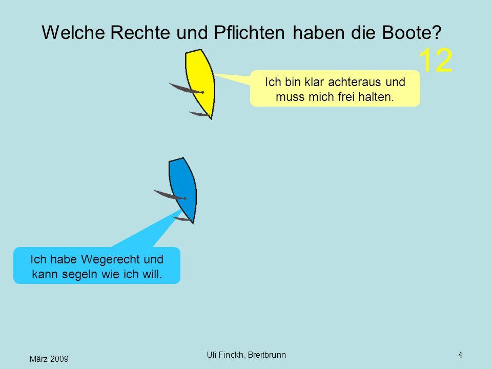März 2009 Uli Finckh, Breitbrunn4 Welche Rechte und Pflichten haben die Boote? Ich bin klar achteraus und muss mich frei halten. Ich habe Wegerecht un