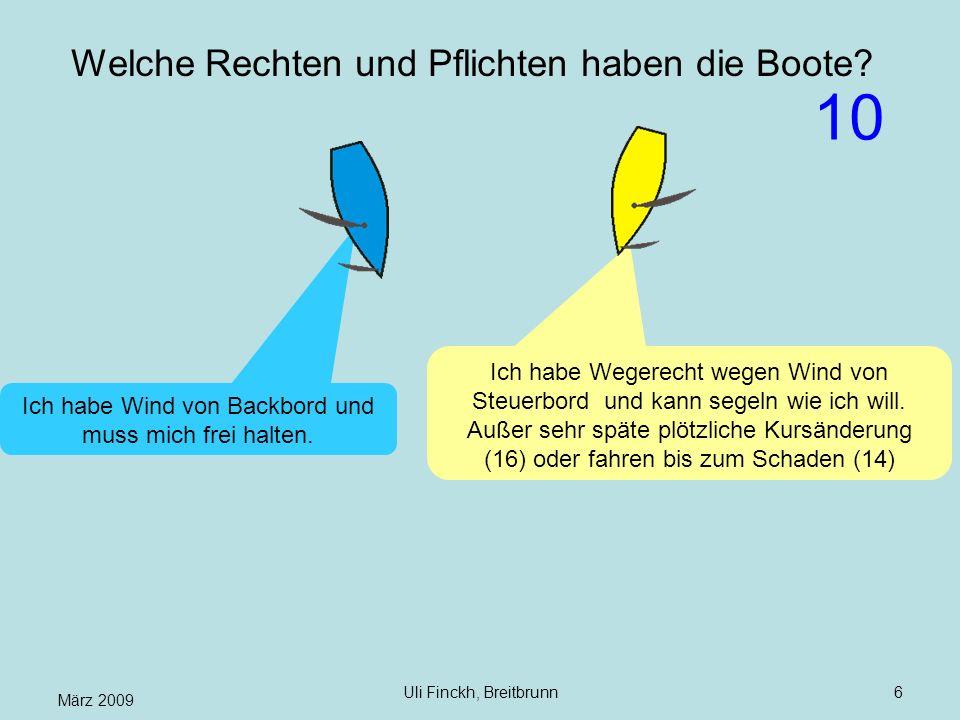 März 2009 Uli Finckh, Breitbrunn6 Welche Rechten und Pflichten haben die Boote? Ich habe Wegerecht wegen Wind von Steuerbord und kann segeln wie ich w