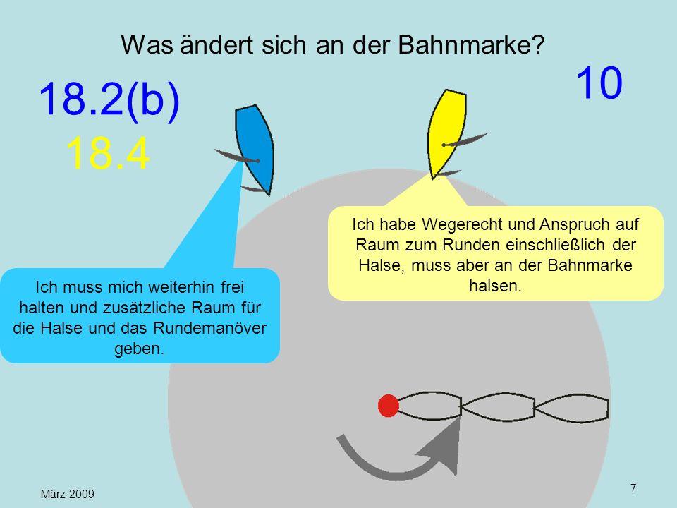März 2009 Uli Finckh, Breitbrunn7 Was ändert sich an der Bahnmarke? Ich habe Wegerecht und Anspruch auf Raum zum Runden einschließlich der Halse, muss