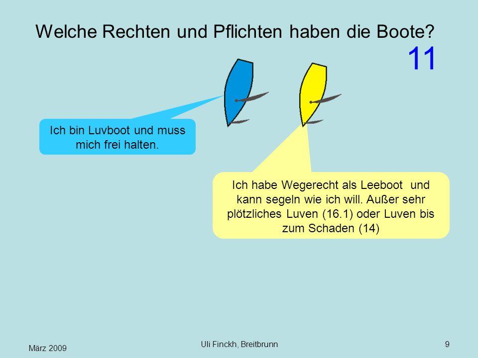 März 2009 Uli Finckh, Breitbrunn9 Welche Rechten und Pflichten haben die Boote? Ich habe Wegerecht als Leeboot und kann segeln wie ich will. Außer seh