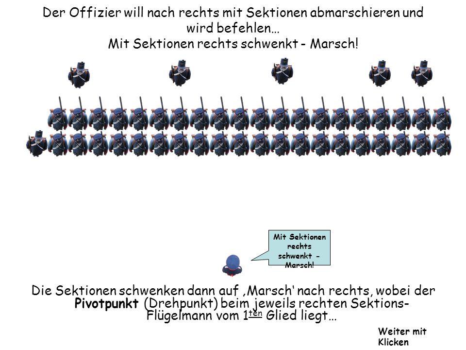Der Offizier will nach rechts mit Sektionen abmarschieren und wird befehlen… Mit Sektionen rechts schwenkt - Marsch! Mit Sektionen rechts schwenkt - M