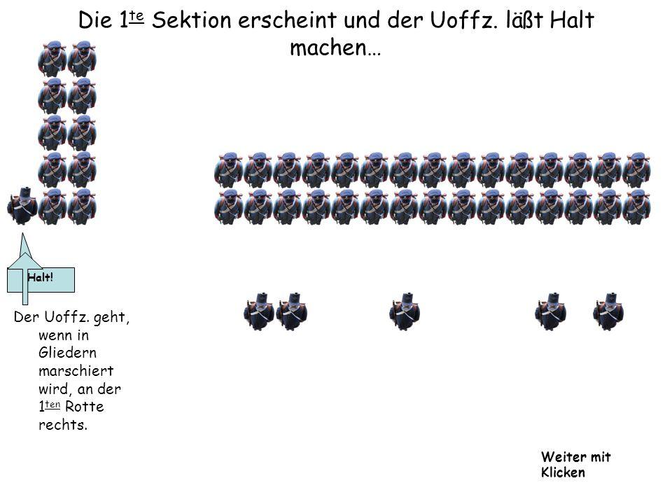 Die 1 te Sektion erscheint und der Uoffz. läßt Halt machen… Der Uoffz. geht, wenn in Gliedern marschiert wird, an der 1 ten Rotte rechts. Halt! Weiter