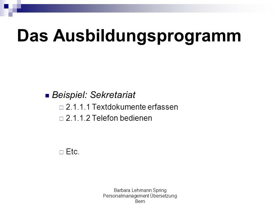 Barbara Lehmann Spring Personalmanagement Übersetzung Bern Das Ausbildungsprogramm Beispiel: Sekretariat 2.1.1.1 Textdokumente erfassen 2.1.1.2 Telefo