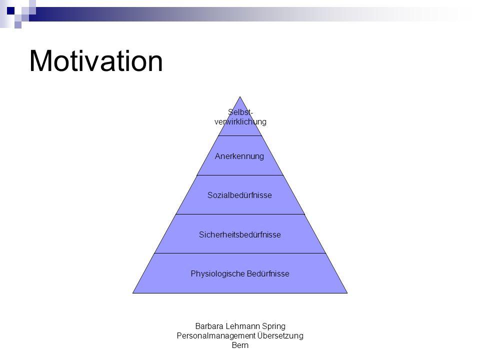 Barbara Lehmann Spring Personalmanagement Übersetzung Bern Motivation Selbst- verwirklichung Anerkennung Sozialbedürfnisse Sicherheitsbedürfnisse Phys