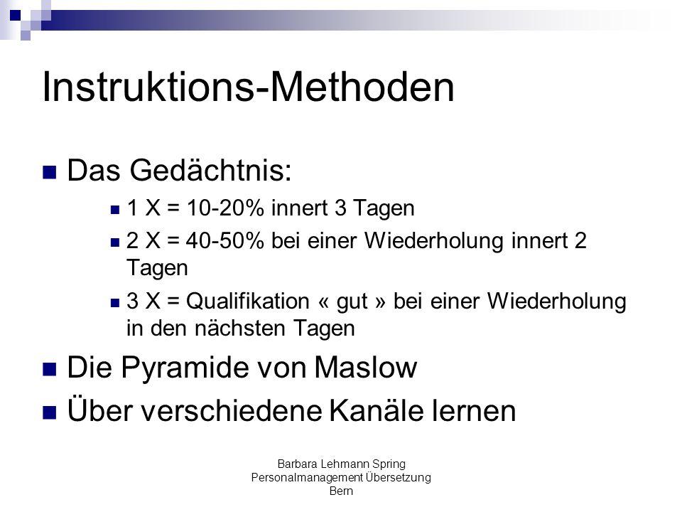 Barbara Lehmann Spring Personalmanagement Übersetzung Bern Instruktions-Methoden Das Gedächtnis: 1 X = 10-20% innert 3 Tagen 2 X = 40-50% bei einer Wi