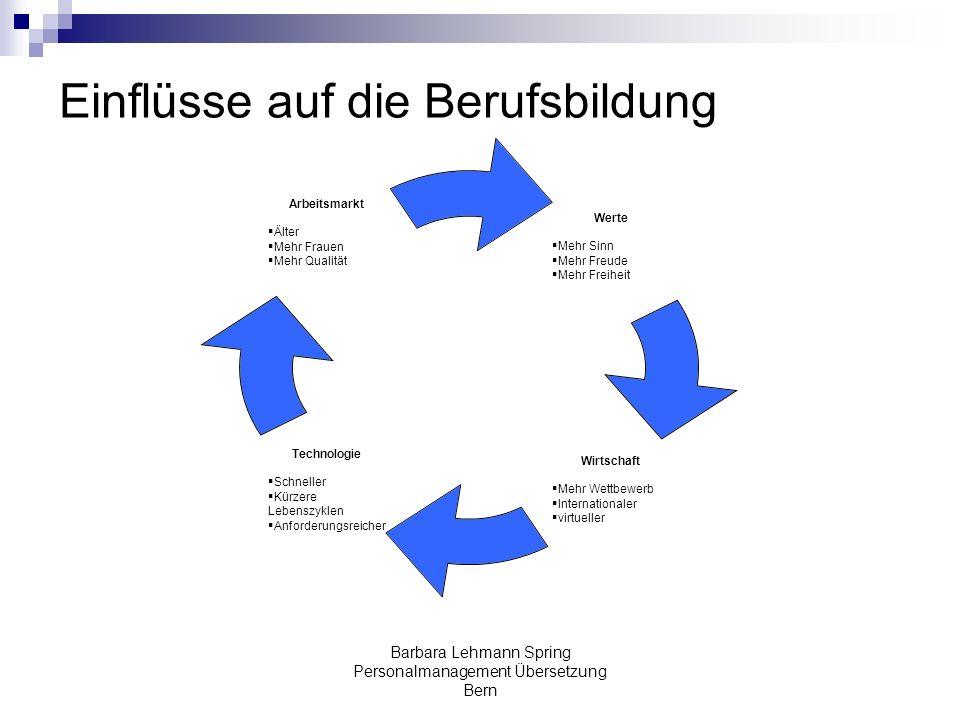 Barbara Lehmann Spring Personalmanagement Übersetzung Bern Einflüsse auf die Berufsbildung Werte Mehr Sinn Mehr Freude Mehr Freiheit Wirtschaft Mehr W