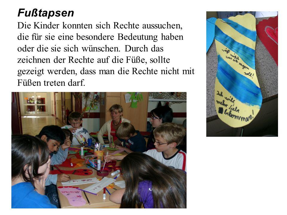 Fußtapsen Die Kinder konnten sich Rechte aussuchen, die für sie eine besondere Bedeutung haben oder die sie sich wünschen. Durch das zeichnen der Rech