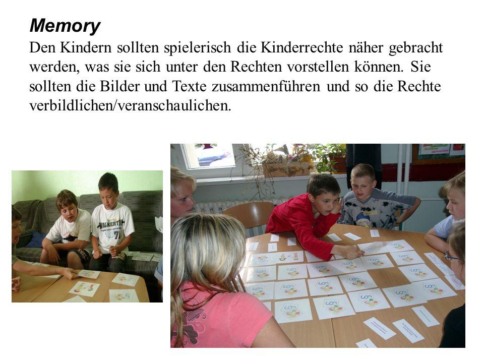Memory Den Kindern sollten spielerisch die Kinderrechte näher gebracht werden, was sie sich unter den Rechten vorstellen können. Sie sollten die Bilde