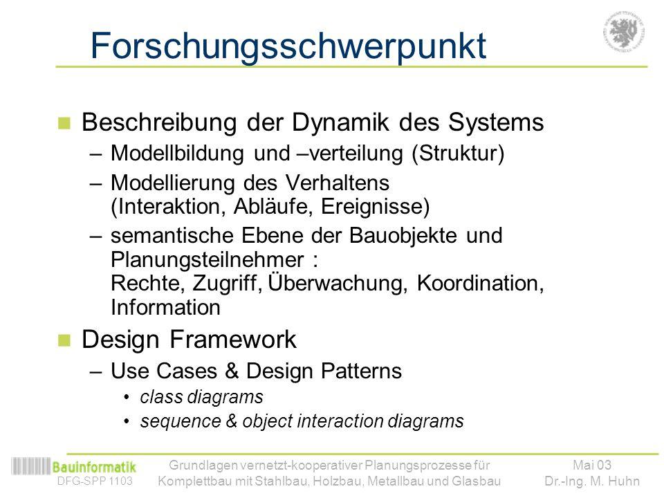 DFG-SPP 1103 Mai 03 Dr.-Ing. M. Huhn Grundlagen vernetzt-kooperativer Planungsprozesse für Komplettbau mit Stahlbau, Holzbau, Metallbau und Glasbau Fo