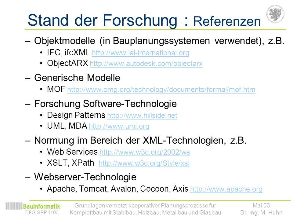 DFG-SPP 1103 Mai 03 Dr.-Ing. M. Huhn Grundlagen vernetzt-kooperativer Planungsprozesse für Komplettbau mit Stahlbau, Holzbau, Metallbau und Glasbau St