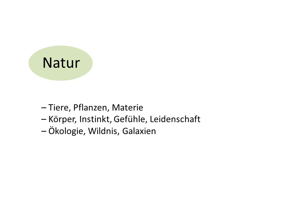 Natur – Tiere, Pflanzen, Materie – Körper, Instinkt, Gefühle, Leidenschaft – Ökologie, Wildnis, Galaxien