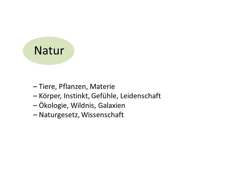 Natur – Tiere, Pflanzen, Materie – Körper, Instinkt, Gefühle, Leidenschaft – Ökologie, Wildnis, Galaxien – Naturgesetz, Wissenschaft