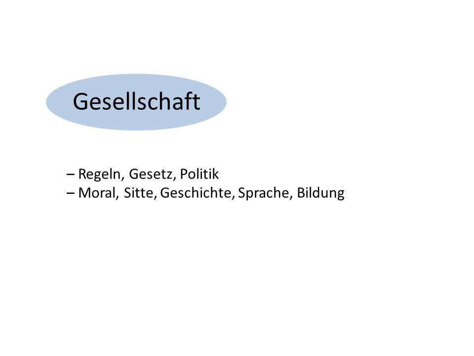 Gesellschaft – Regeln, Gesetz, Politik – Moral, Sitte, Geschichte, Sprache, Bildung