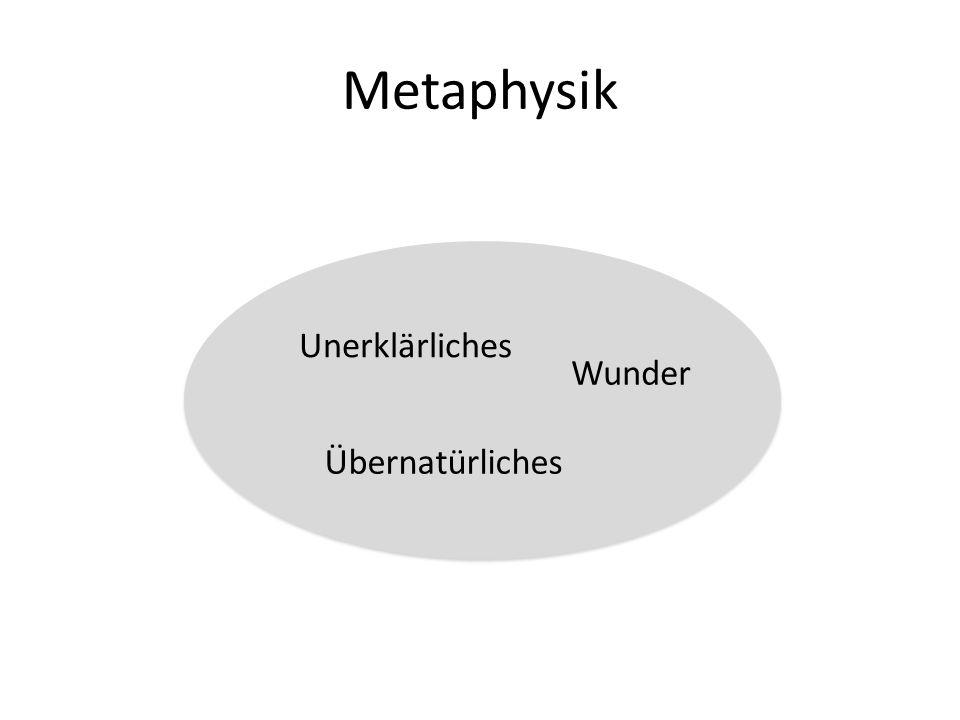 Metaphysik Unerklärliches Übernatürliches Wunder