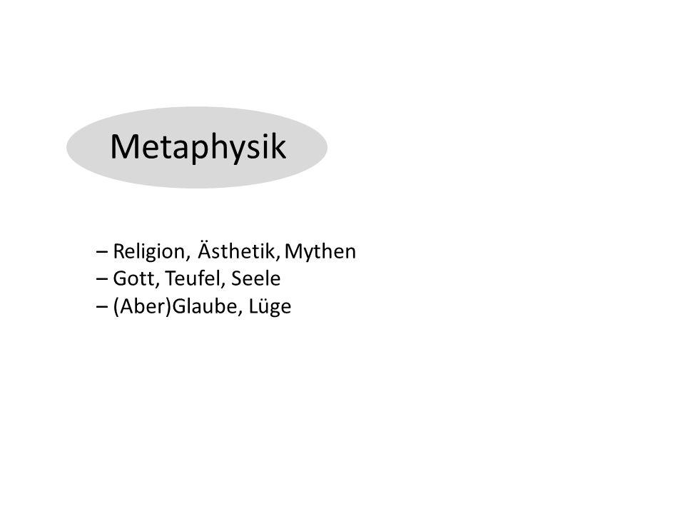 Metaphysik – Religion, Ästhetik, Mythen – Gott, Teufel, Seele – (Aber)Glaube, Lüge