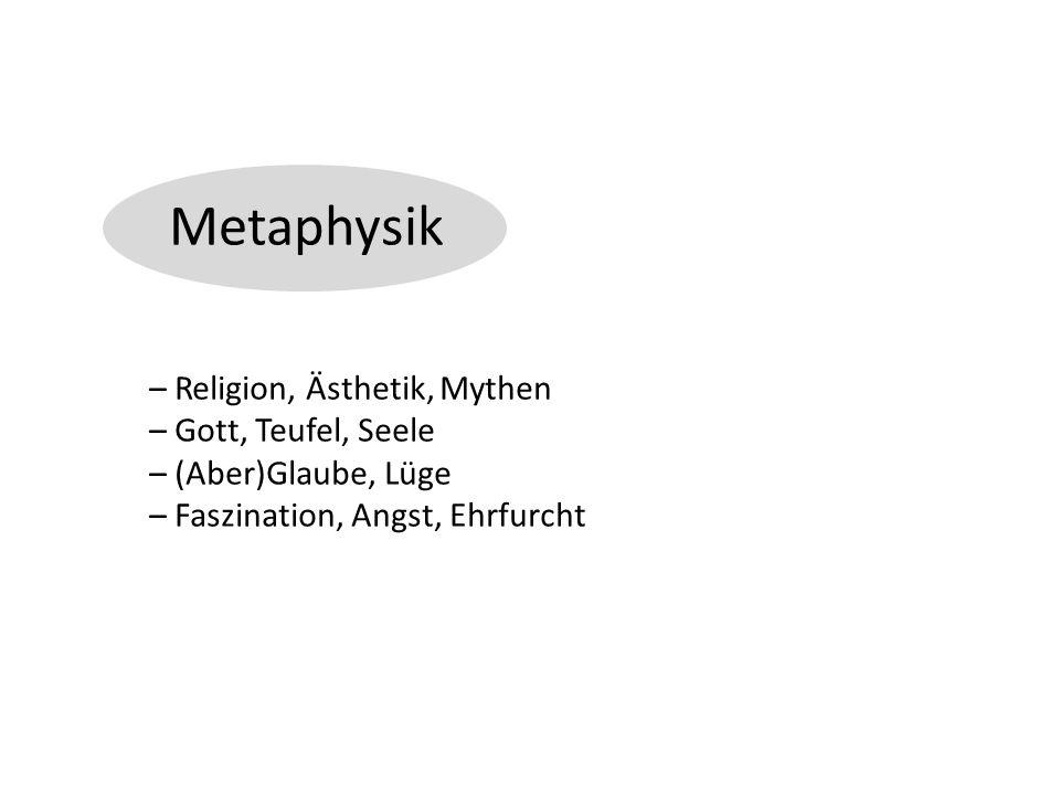 Metaphysik – Religion, Ästhetik, Mythen – Gott, Teufel, Seele – (Aber)Glaube, Lüge – Faszination, Angst, Ehrfurcht