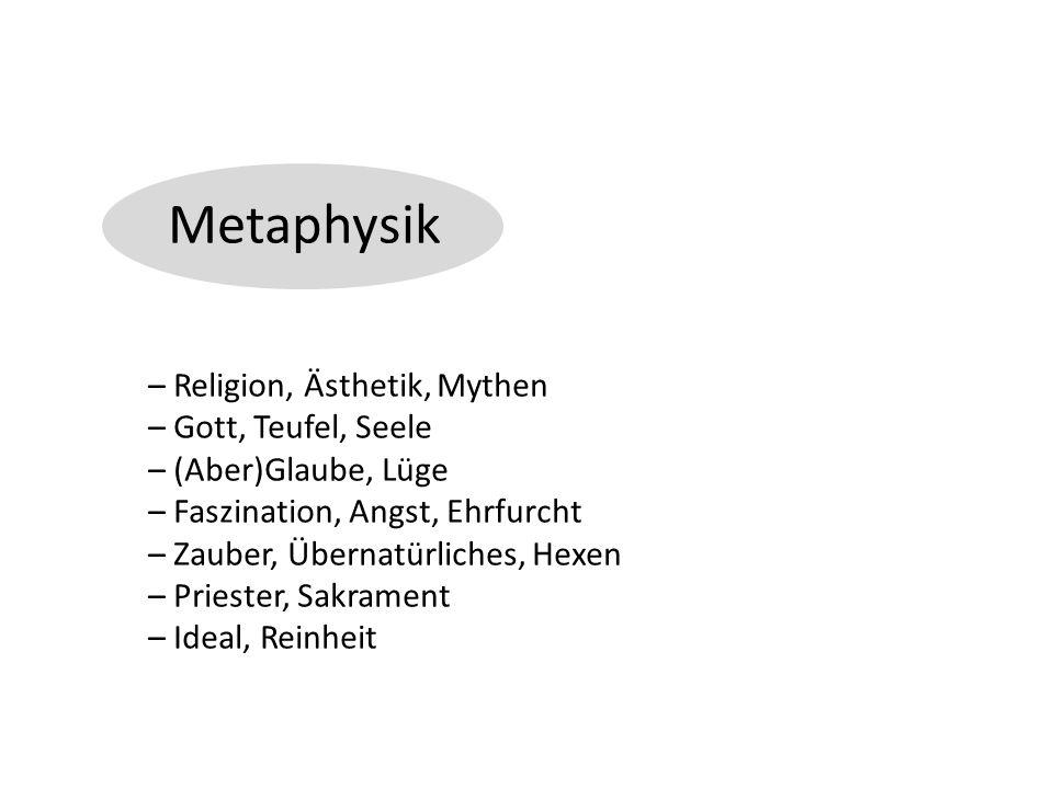 Metaphysik – Religion, Ästhetik, Mythen – Gott, Teufel, Seele – (Aber)Glaube, Lüge – Faszination, Angst, Ehrfurcht – Zauber, Übernatürliches, Hexen – Priester, Sakrament – Ideal, Reinheit