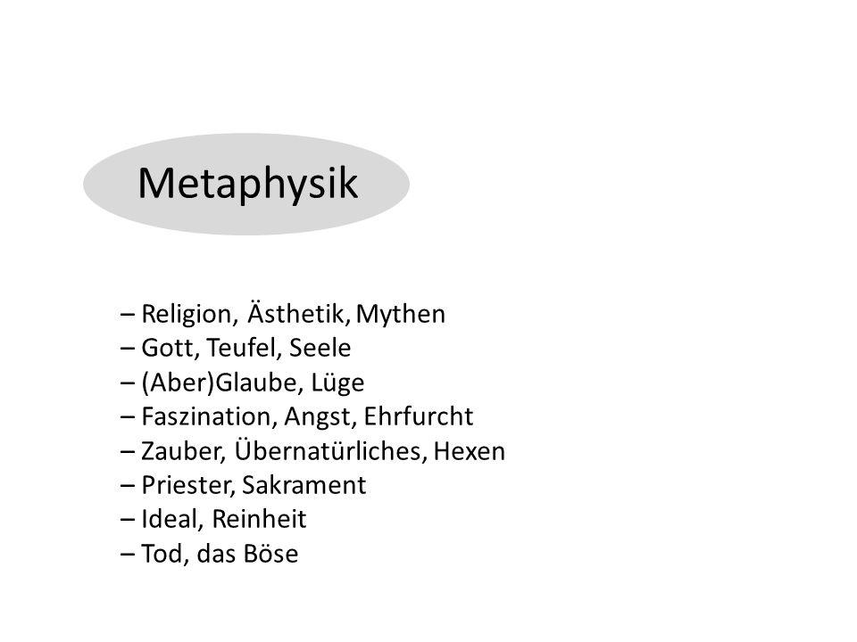 Metaphysik – Religion, Ästhetik, Mythen – Gott, Teufel, Seele – (Aber)Glaube, Lüge – Faszination, Angst, Ehrfurcht – Zauber, Übernatürliches, Hexen – Priester, Sakrament – Ideal, Reinheit – Tod, das Böse