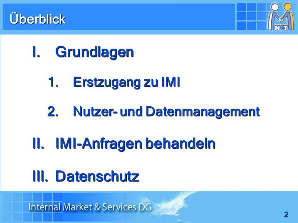 2 I.Grundlagen 1.Erstzugang zu IMI 2.Nutzer- und Datenmanagement II.IMI-Anfragen behandeln III.Datenschutz Überblick