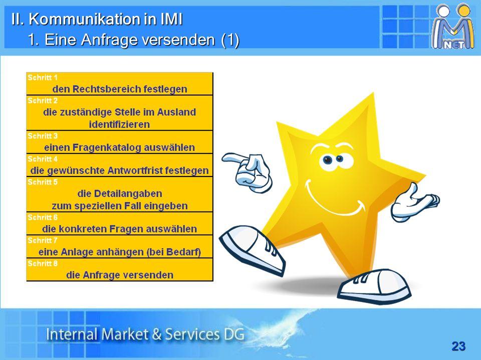 23 II. Kommunikation in IMI 1. Eine Anfrage versenden (1)