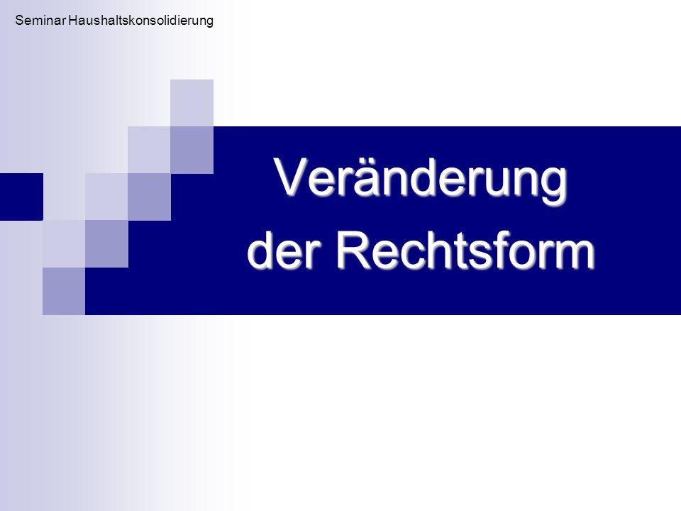Veränderung der Rechtsform Seminar Haushaltskonsolidierung