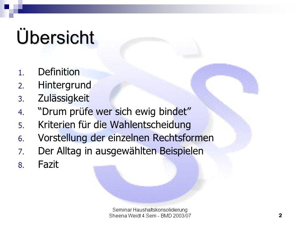 Seminar Haushaltskonsolidierung Sheena Weidt 4.Sem - BMD 2003/072 1. Definition 2. Hintergrund 3. Zulässigkeit 4. Drum prüfe wer sich ewig bindet 5. K