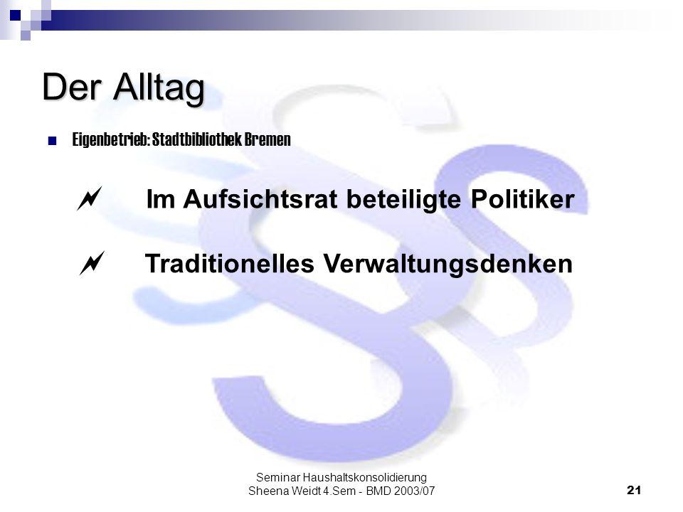 Seminar Haushaltskonsolidierung Sheena Weidt 4.Sem - BMD 2003/0721 Der Alltag Eigenbetrieb: Stadtbibliothek Bremen Im Aufsichtsrat beteiligte Politike