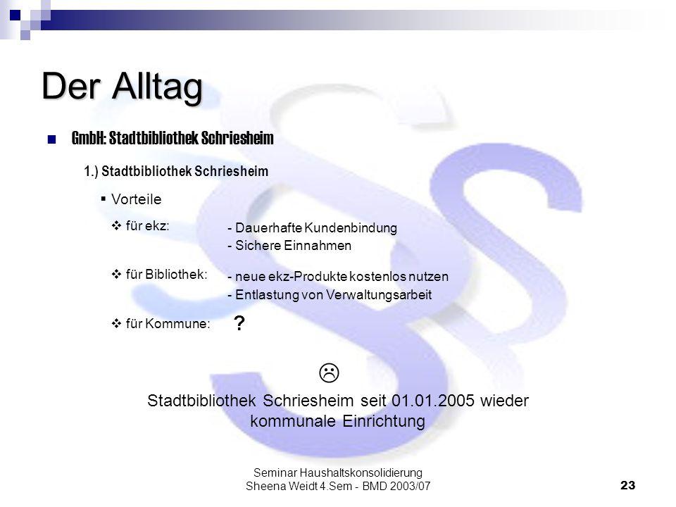 Seminar Haushaltskonsolidierung Sheena Weidt 4.Sem - BMD 2003/0723 Der Alltag GmbH: Stadtbibliothek Schriesheim Vorteile 1.) Stadtbibliothek Schrieshe