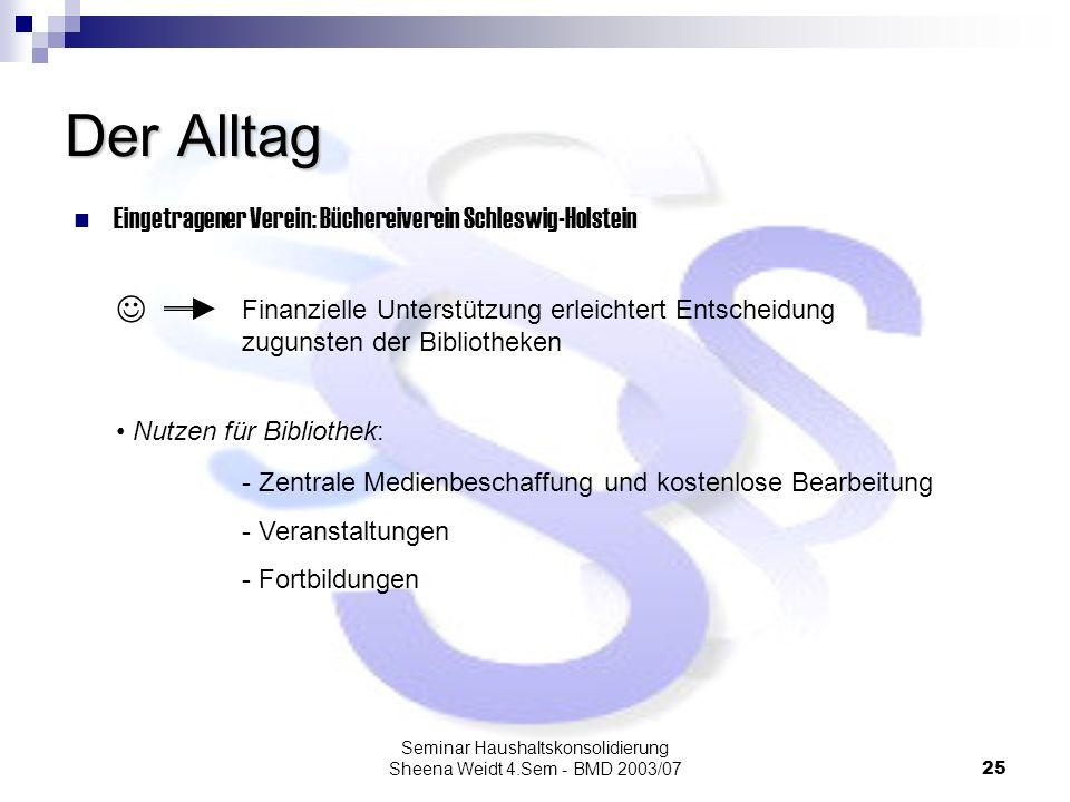 Seminar Haushaltskonsolidierung Sheena Weidt 4.Sem - BMD 2003/0725 Der Alltag Eingetragener Verein: Büchereiverein Schleswig-Holstein Nutzen für Bibli