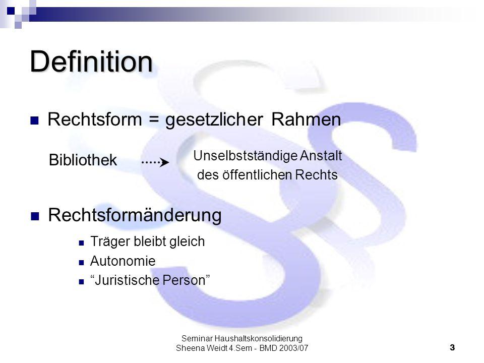 Seminar Haushaltskonsolidierung Sheena Weidt 4.Sem - BMD 2003/073 Definition Rechtsform = gesetzlicher Rahmen Rechtsformänderung Träger bleibt gleich