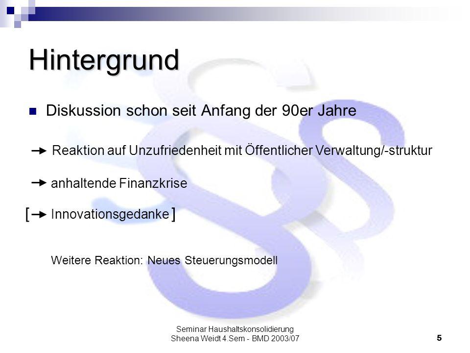 Seminar Haushaltskonsolidierung Sheena Weidt 4.Sem - BMD 2003/075 Hintergrund Diskussion schon seit Anfang der 90er Jahre Reaktion auf Unzufriedenheit