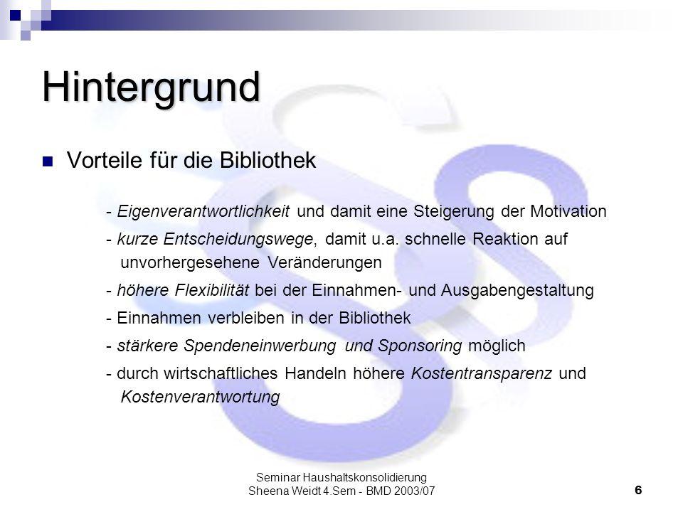 Seminar Haushaltskonsolidierung Sheena Weidt 4.Sem - BMD 2003/076 Hintergrund Vorteile für die Bibliothek - Eigenverantwortlichkeit und damit eine Ste