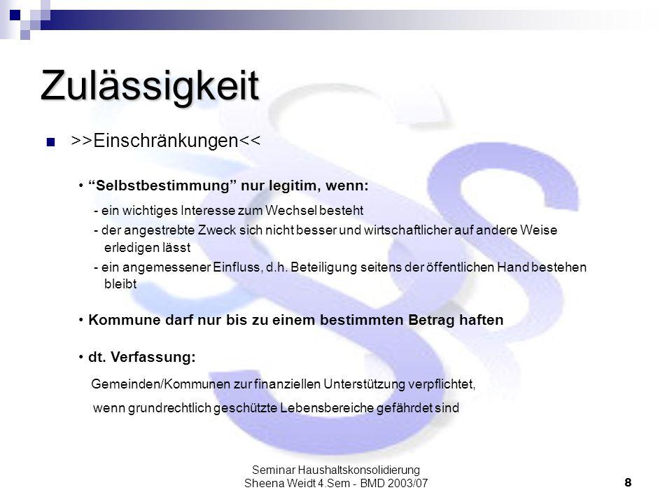 Seminar Haushaltskonsolidierung Sheena Weidt 4.Sem - BMD 2003/079 Drum prüfe wer sich ewig bindet 1.